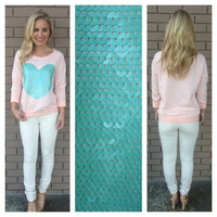 Coral Hearts Mint Sequin Sweater Top