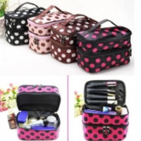 Portable Polyester Double Layer Makeup Cosmetic Toiletries Bag Various Colors