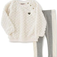 Juicy Couture Girls' Faux Fur Top with Pockets and Pant Set