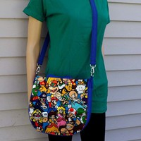 Mario Bros Cross Body Purse Messenger Bag with Adjustable Position Strap