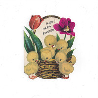 1940s Hello! Happy Easter Greeting Card with Flocked Fuzzy Chicks on Front by Whit. Die Cut, Made in USA