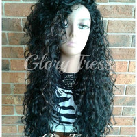 CLEARANCE // Long Beach Curly Half Wig, Kinky Curly Wig, Long Black Wig // COURAGE