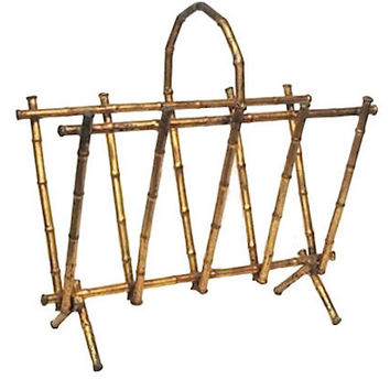 Gilt Bamboo-Style Magazine Holder