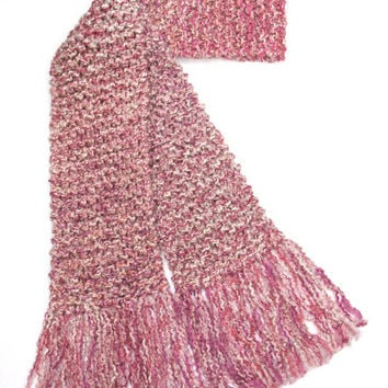 Pink Scarf Extra Long Chunky Hand Knit Scarf 10 ft Long