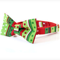"""Holiday Bow Tie Cat Collar Set - """"The Grinch"""" - Red & Green Seuss-Inspired Detachable Bow Tie + Matching Christmas Collar"""