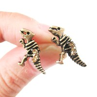 Dinosaur Fossil Shaped Stud Earrings in Brass with Rhinestones | DOTOLY