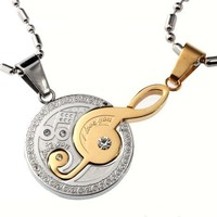 R.H. Jewelry Stainless Steel Musical Note Couple Matching Set Two Tone Color Pendants