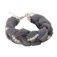 Grey Braid Chain & Pearl Bracelet