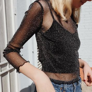 Women Glitter Sheer Mesh Top new long-sleeve casual perspective hollow out Female Top sexy Shine Blouse Shirt