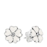 PANDORA Earrings - Sterling Silver & Enamel Primrose Studs