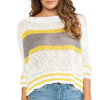 Free People Stripe Pullover in Ivory