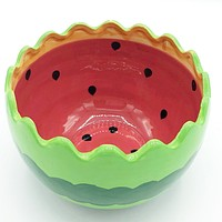 "Round Watermelon Ceramic 4"" H Serving Bowl Secret Garden"