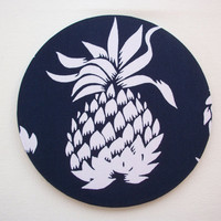 Mouse Pad mouse pad / Mat -  white pineapple on navy  -  round or rectangle - office accessories desk home decor