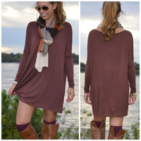 Time Well Wasted Brown Long Sleeve Dress