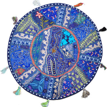 """22"""" blue Patchwork Round Floor Pillow Cushion round embroidered Bohemian Patchwork floor cushion pouf Vintage Indian Foot Stool Bean Bag"""