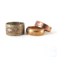 vintage wide band ring  // men or womens ring / gold or copper ring