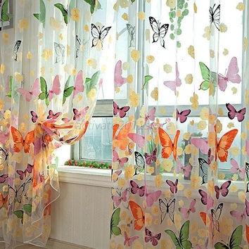 Charm Butterfly Panel Sheer Scarfs Tulle Window Screens Door Balcony Curtain (Color: Multicolor) = 1958008324
