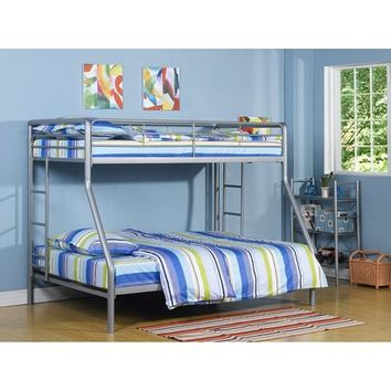 Twin over Full Bunk Bed - Silver/Black