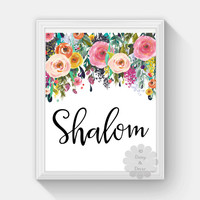 hello Shalom jewish saying printable wall art nursery playroom print home decor floral wall print art quote typography poster print floral