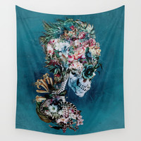 Floral Skull RP Wall Tapestry by RIZA PEKER