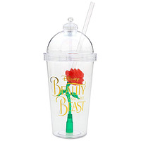 Disney Parks Beauty and the Beast Rose Light Up Souvenir Cup Tumbler New