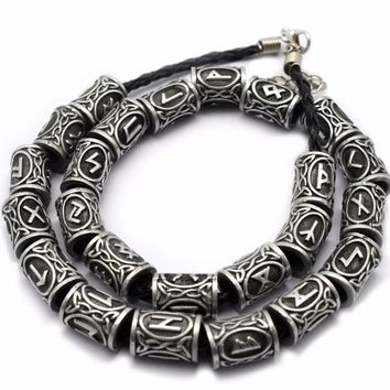 1pc Silver Viking Runes Beads Charms Findings for Bracelets for Pendant Necklace DIY for beard or hair Real Photoes