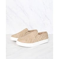 Quilted Slip On Sneakers in Taupe