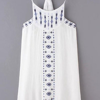 White Embroidery Spaghetti Strap Cotton Hemp Dress