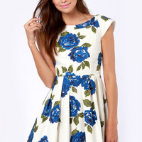 Mink Pink Feeling Blue Floral Print Dress