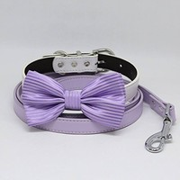 Lavender Bow tie, Dog collar leash, Lilac Leash, Handmade, Puppy Gift, Dog collar wedding, Dog of Honor