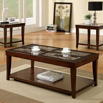3 Pc. Maine Contemporary Style Faux Marble Inserts with Cherry Wood Finish Frame Coffee Table Sets