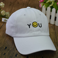 Letters and Smiley Face Emoticon Embroidered Baseball Caps in White