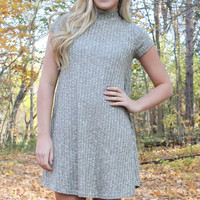 Two Toned Ribbed Dress - Olive