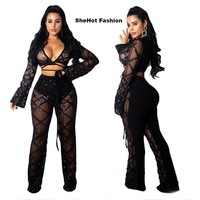 Women Sexy Black Sequin Mesh Two Piece Long Sleeve Crop Top Wide Leg Pant Set