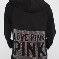 Victoria's Secret Love Pink Bling Crystals Black Hoodie Jacket New - Small:Amazon:Clothing