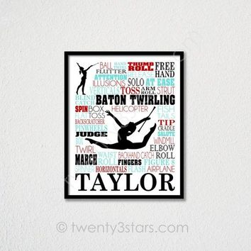 Baton Twirling Typography Wall Art - Choose Any Colors - twenty3stars