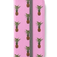 iPhone 6 Wallet Pink Pineapple iPhone 6S Plus Wallet Case Fruit Tropical Pattern Woman's Wallet Gift