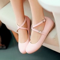 Women Sweet Lolita Round Toe Crossover Ankle Strap Slip On Mary Jane Dolly Shoes