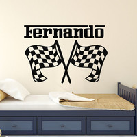 Personalized Decal Boys Name Custom Sticker Checkered Flags Racing Race Car Wall Decor Kids Boy Nursery Vinyl Stickers Home T167