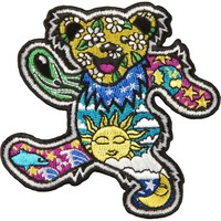 Grateful Dead Men's Psychedelic Bear Embroidered Patch Multi