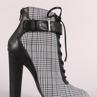 Shoe Republic LA Glen Plaid Lace Up Chunky Heeled Ankle Boots