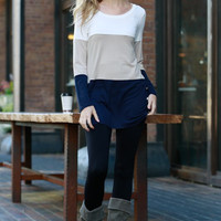 Vogue Vibes Color Block Tunic - Taupe and Navy