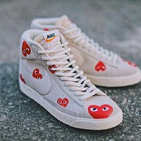 Comme Des Gar?ons x Nike Sb Blazer canvas high-top sneakers shoes-1