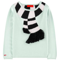 Girls Mint Scarf Embroidered Sweater