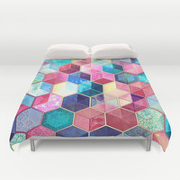 Topaz & Ruby Crystal Honeycomb Cubes Duvet Cover by Micklyn