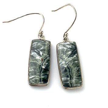 Seraphinite Sterling Silver Earrings
