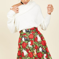 Playful Feeling Skater Skirt in Festive Felines | Mod Retro Vintage Skirts | ModCloth.com