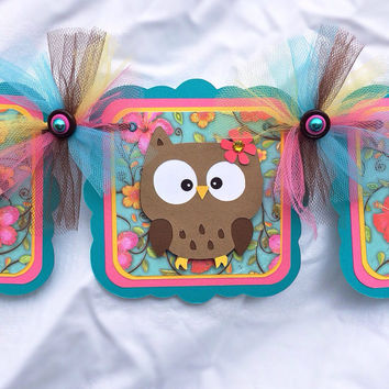 Woodland / forest animals / baby shower / birthday banner, photo prop /  teal and pink
