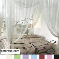 White 4 Poster / Four Corner White Bed Canopy Mosquito Net Full Queen King
