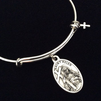 Saint Helen Medal Silver Expandable Charm Bracelet Double Sided Adjustable Wire Bangle Stacking Trendy Patron Marriages Relationships